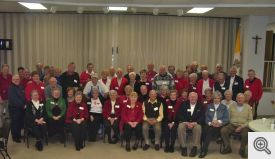 There was a very large group for the picture of those married 50 years or more that were attending the Sacred Heart Men's Club Valentine's Party.