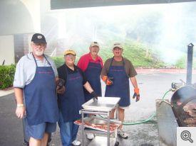 Ed Voss, Dick Hill, Jim Passe, & Chuck Ralph cooking at Steak Dinner
