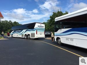Cline Tour Buses ready To board